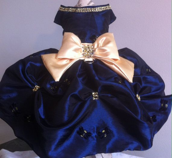 Navy Holiday Dress  Taffeta Rhinestones beads by LaVitaPetFashion