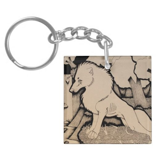 """Across the River"" Cute wolf illustration Keychain"