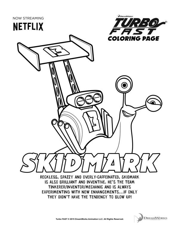 turbo fast skidmark coloring page printable coloring