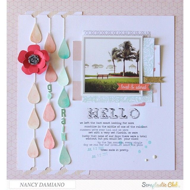 Scrapbook page created by designer Nancy Damiano using the Scraptastic Club Darlene kit + add-on