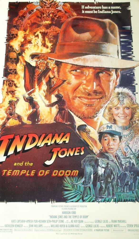 """INDIANA JONES AND THE TEMPLE OF DOOM Movie Poster Style B 27x40"""" 1984"""