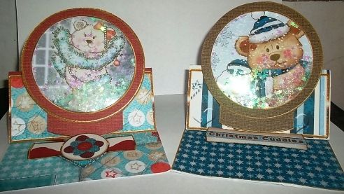 contact class 7th Oct 2015 I used the cd of Debbie Moore---- Bobbin the Bear Snow Globes and Mini Easel Cards washed the acetate in soapy water and dried it with paper towel and it really did cut down some of the static for these shaker cards