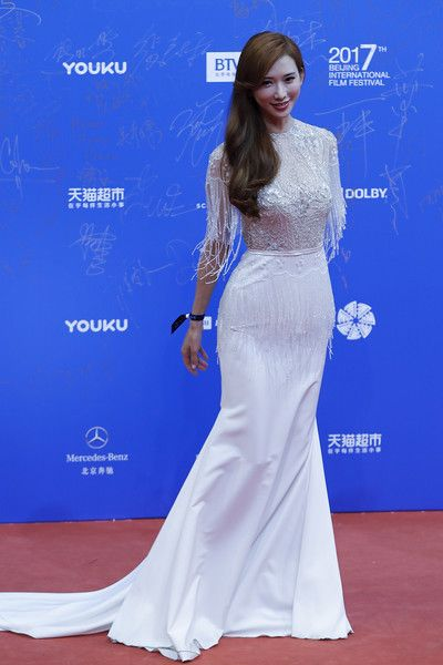 Actress Lin Chi-ling arrives at the red carpet of the 7th Beijing International Film Festival on April 16, 2017 in Beijing, China.