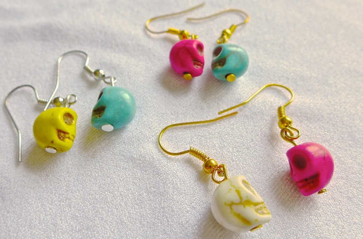 24. Turquoise howlite skulls earrings (lots of colors available) (hooks can be either in silver or gold) $2