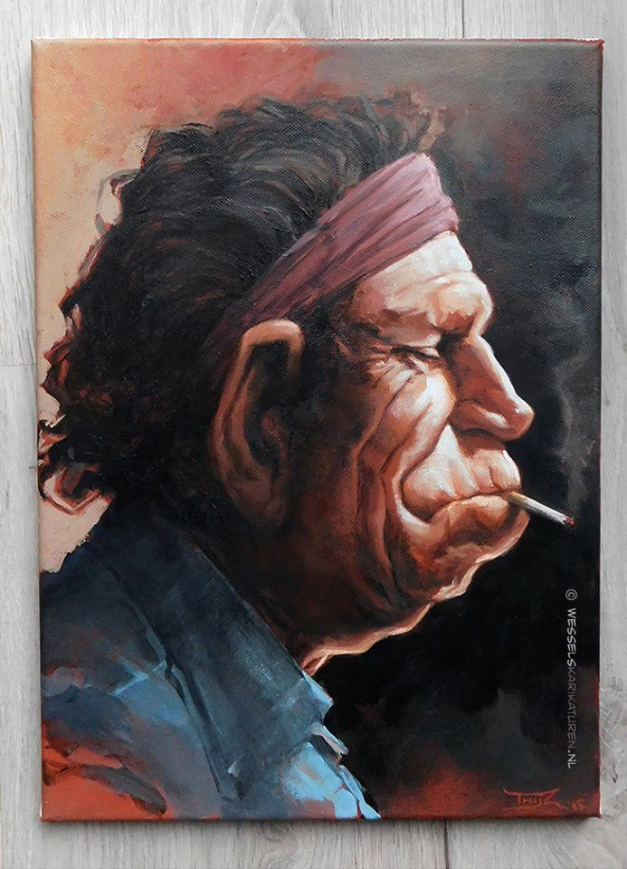 Caricature Keith Richards Oil Painting