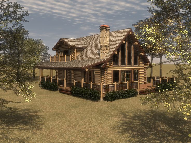 Render of the quinn floorplan by log home outfitters for Small lake house plans with loft