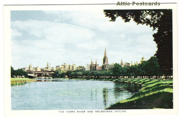 Vintage chrome postcard of the Yarra River and Melbourne in Victoria, Australia.