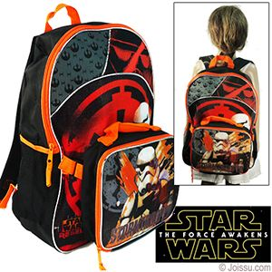 2-IN-1 STAR WARS LUNCH BOXES AND BACKPACKS. With an insulated soft lunch box and full-sized backpack, these are the perfect combo for any active kid. Lunch box has a zipper closure and attaches to backpack with hook and loop straps. Backpack has zipper closure, adjustable straps & 2 net side pockets.  Sizes lunch box 9 X 7 X 3 Inches, backpack 16 X 11 X 4 Inches