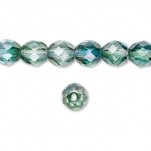Bead, Preciosa Czech fire-polished glass, green/teal, 8mm faceted round. 50 pc strand