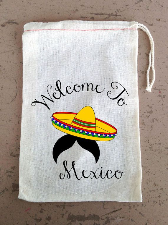 Favor Bag, Bachelorette Party, Hangover Kit, Drawstring Favor Bags, Personalized FREE, Mexico Sombrero with Mustache