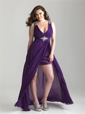 High-low V-neckline and Back Chiffon Satin Prom Dress