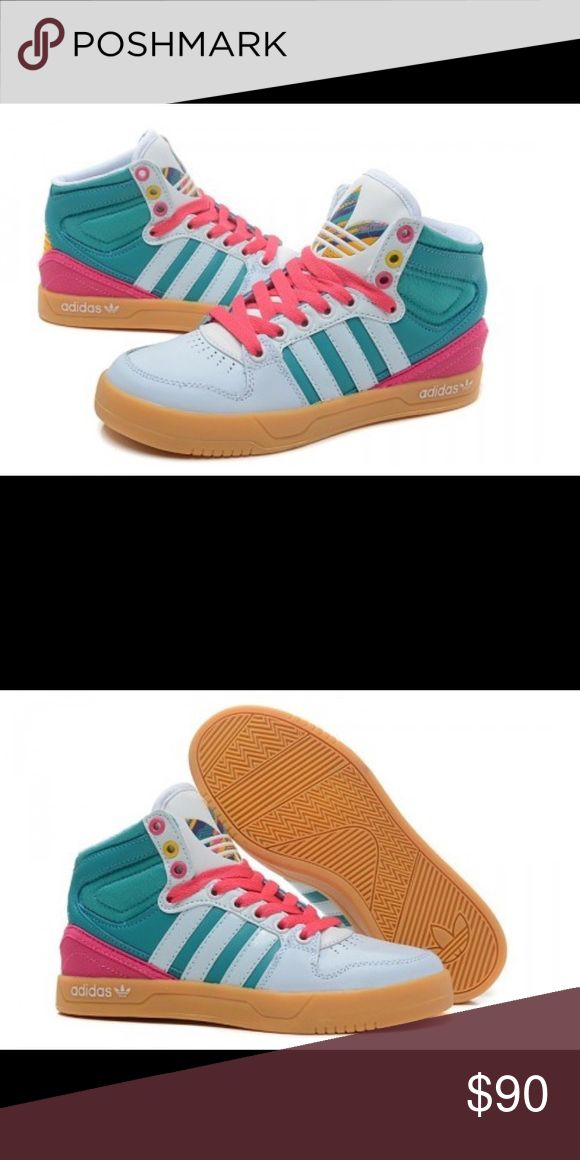Adidas Court Attitude hi-top sneakers ***NEW*** women's high top classic style Adidas Size 6......multicolor (pink,white, green) Adidas Shoes Sneakers