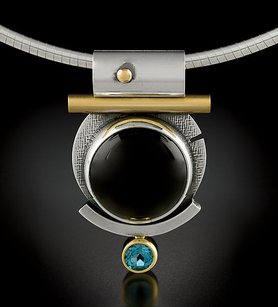Round Black Onyx Pendant by Michele LeVett: Gold, Silver, and Stone Necklace available at www.artfulhome.com