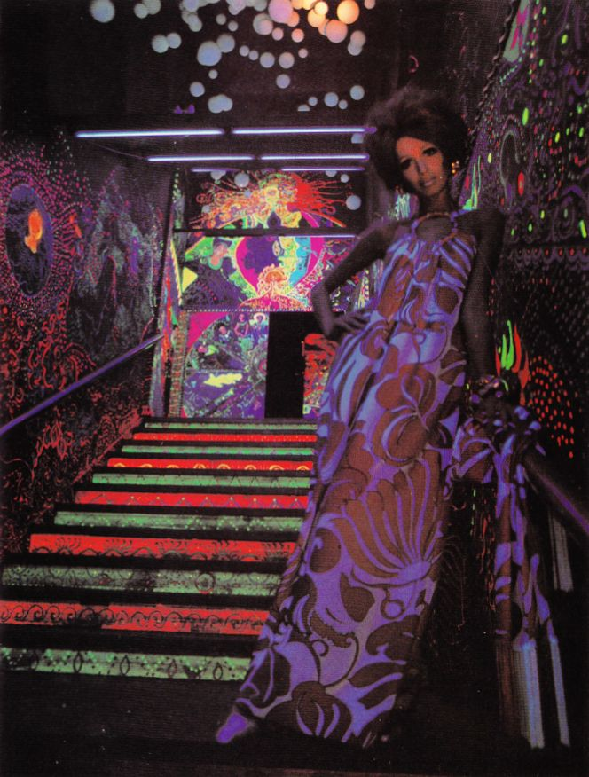 The staircase at The Electric Circus,19-25 St. Marks Place, NYC. Mural by Louis J. Delsarte, 1967.