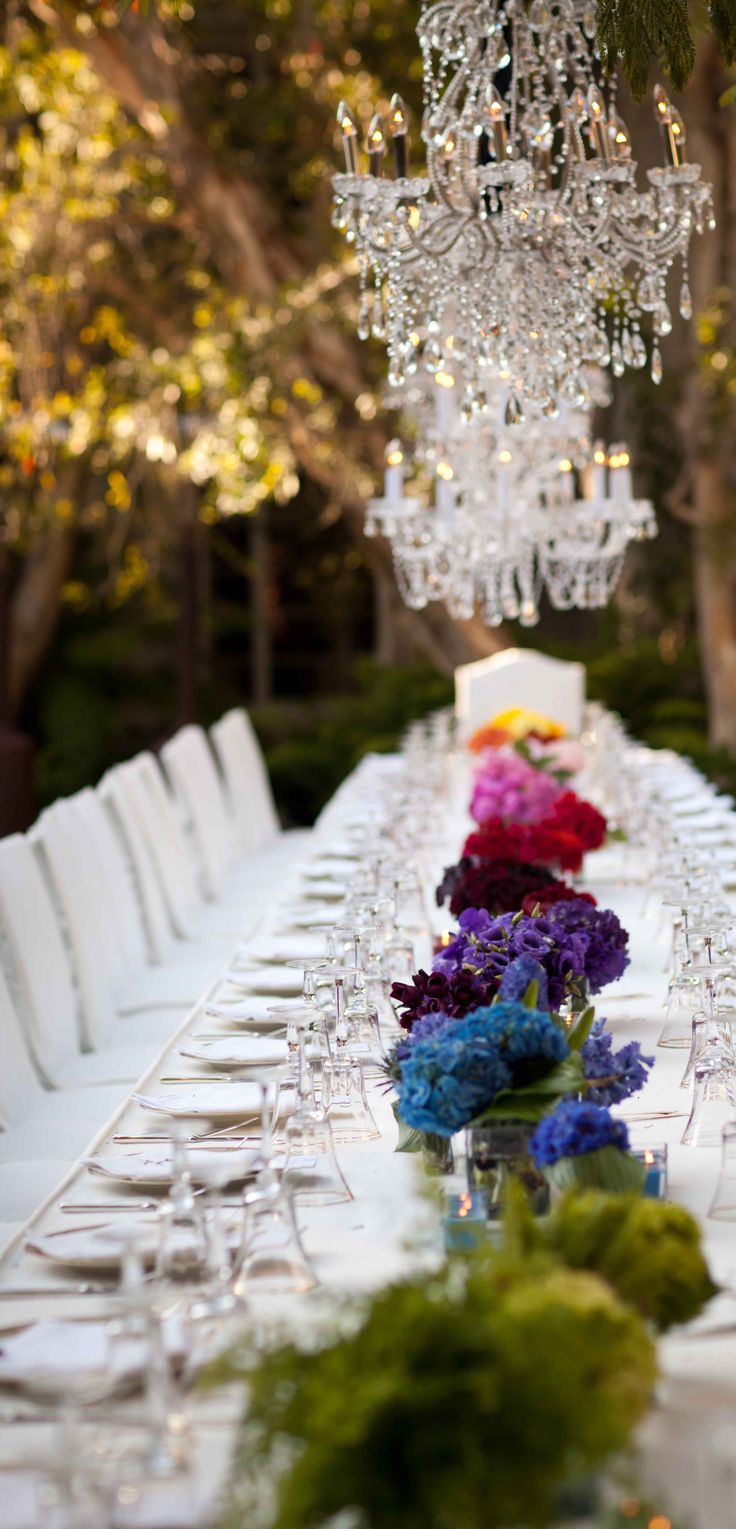Elegant & fun table by @Ingrid Heise-Lise Williams Geller Events #Rainbow ombre floral design. weddings inspiration. events. anniversary. birthdays kids tea parties. table settings. weddings. birthdays. anniversary party. showers.