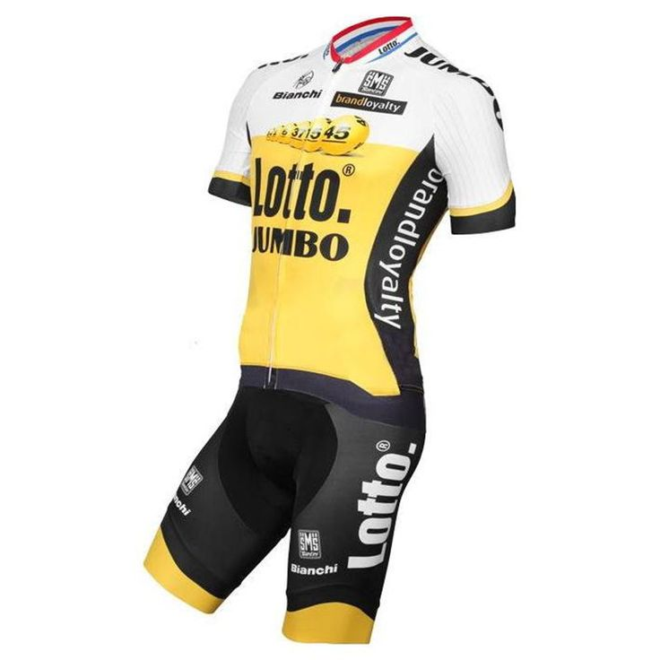 Santini Lotto Jumbo Replica Team Kit Jumbo Lotto team design or good features to improve performance.   The Jersey is manufactured with an anatomical cut for greater comfort and a better fit to the body. #santini #lottojumboteam #retto