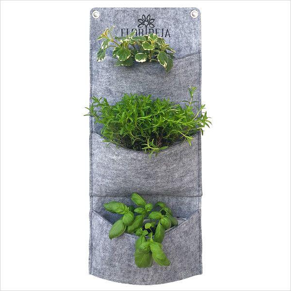 Übertöpfe - Wand Pflanzer, Kräuter Pflanztasche > dreifach - ein Designerstück von FLORIDEJA bei DaWanda