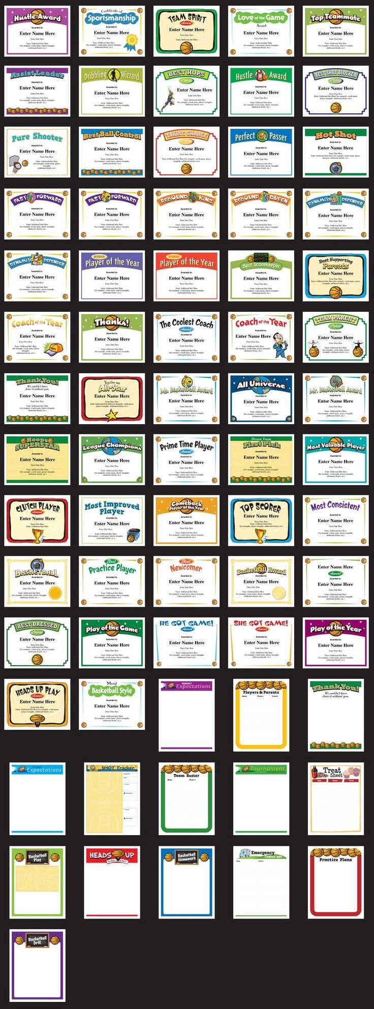 basketball certificates templates image