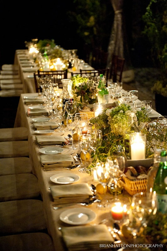beautiful tables with flowers and candlelight