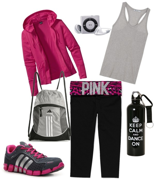 Gym Days, created by kec322 on Polyvore...gotta be honest, my favorite thing about this is the water bottle!