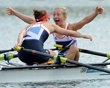 WINDSOR, ENGLAND - AUGUST 04: Katherine Copeland and Sophie Hosking of Great Britain celebrate winning gold in the Lightweight Women's Double Sculls Final on Day 8 of the London 2012 Olympic Games at Eton Dorney on August 4, 2012