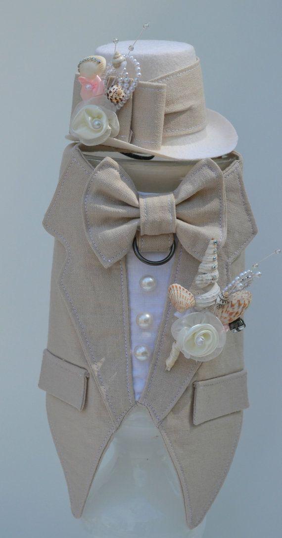 Dog Tuxedo Tan Linen Boy Dog Harness Beach Wedding by KOCouture