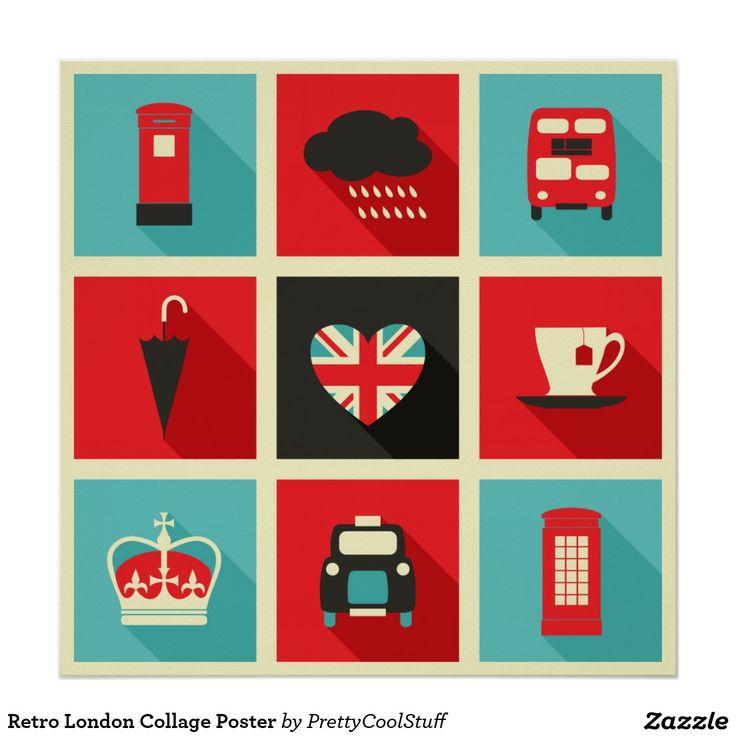 Poster retro da colagem de Londres
