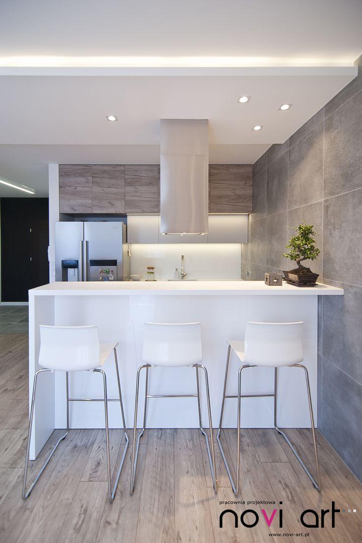 Novi art - , projekt wnętrza, nowoczesne wnetrze, szarości, drewno, beton, minimal interior design, kuchnia