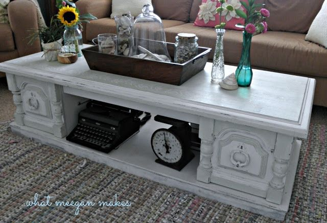 Refinished coffee table ... these old coffee tables are everywhere, but this one looks so nice painted in white. Love it!