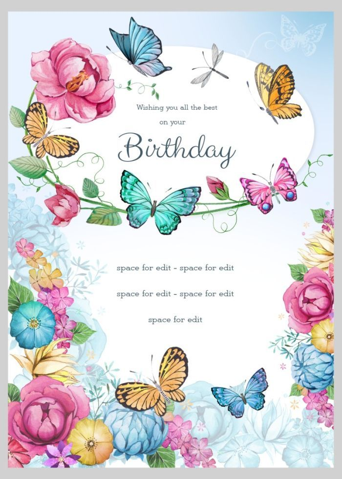 Victoria Nelson Birthday Floral Butterflies 4 Happy