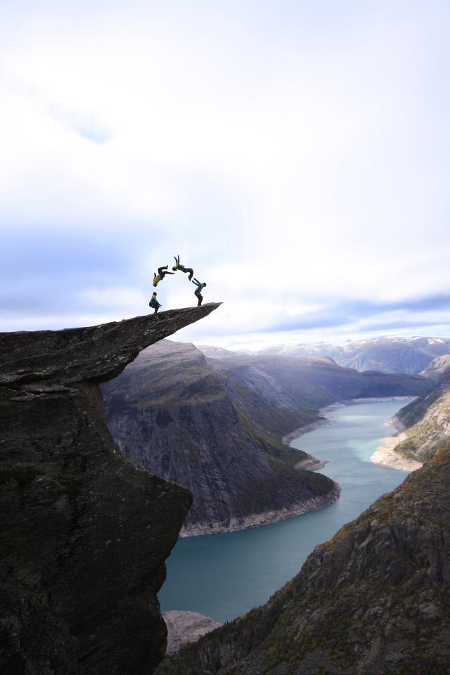 TROLLTUNGA, NORWAY    Trolltunga, Norwegian for 'Troll's Tongue', is a rock formation that sticks horizontally out of a vertical mountain side above a 350 metre drop above Skjeggedal, near Odda, Norway. It is about a 3.-4 hour hike to Trolltunga, and there are stairs and a path that guide visitors the first 950 metres.    -TEL    http://atlasobscura.com/place/trolltunga. More photos here: http://www.opplevodda.com/tysso-via-ferrata-himmelstigen-to-trolltunga-preikestolen/