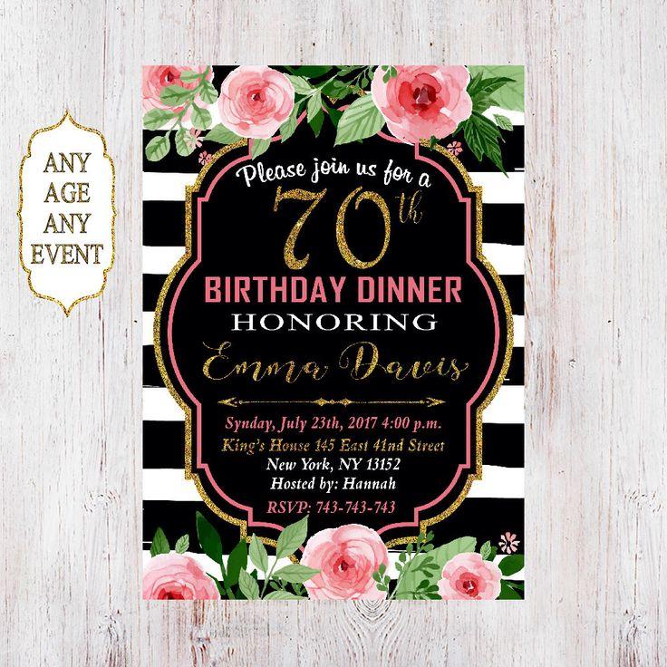 70th Birthday Dinner Invitation, 70th Birthday Invitation, Floral 70th Birthday Invitation, Gold Glitter,40th, 25st, 30th, 50th, 60th 060 by CardDigitalForYou on Etsy https://www.etsy.com/nz/listing/509920059/70th-birthday-dinner-invitation-70th