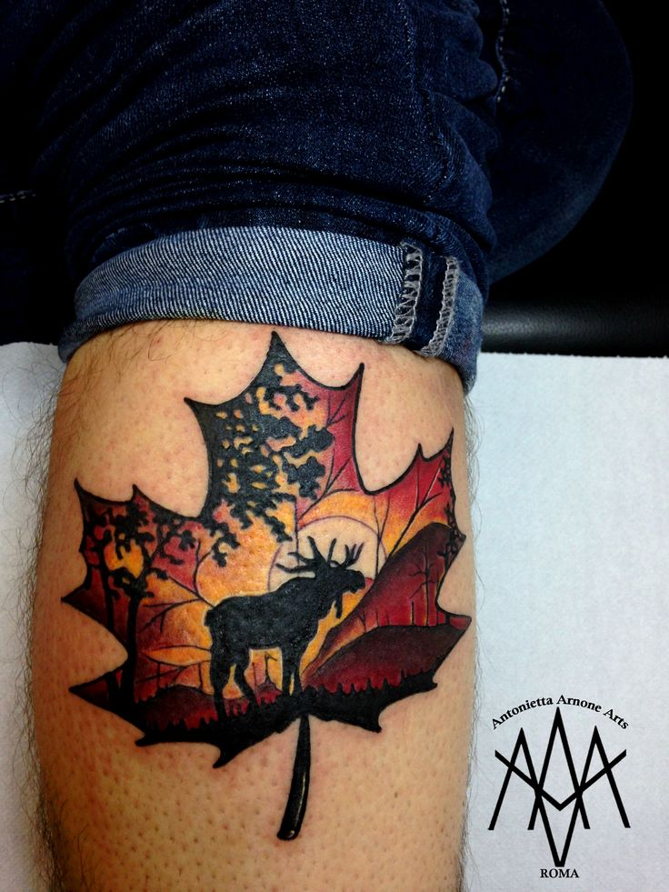 #canada #canadian #leaf #moose #landscape #maple #red #autumn #tattooart #canadians #traveling #travel #travels #tattooartist #tattooing #tattooist #antoniettaarnonearts #tattooed #colored