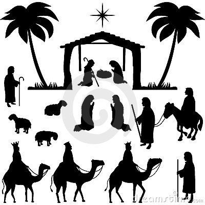 Collection of silhouettes for Christmas. Holy family, shepherds, sheeps, wisemen and people praying in front of the stable. Eps file available.