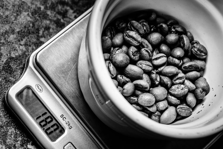 18g of coffee beans on scales