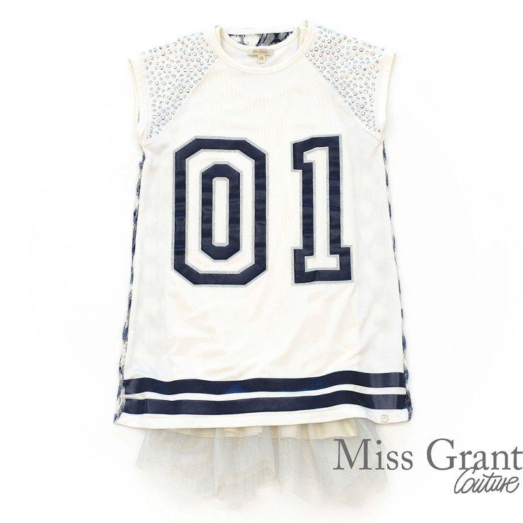 Miss Grant udsalg børnetøj 2-delt kjole med print og tyl flæser tilbud børnetøj