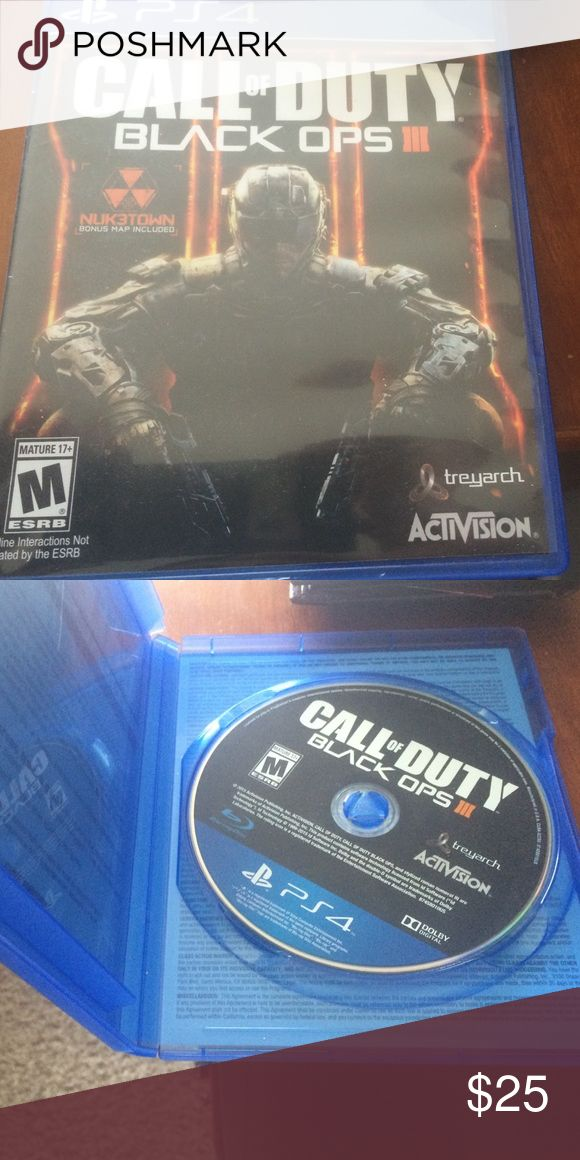 Like New Black Ops 3 for Playstation 4 It has been played like 3 times and I don't play ps4 that much anymore. Game Stop Accessories