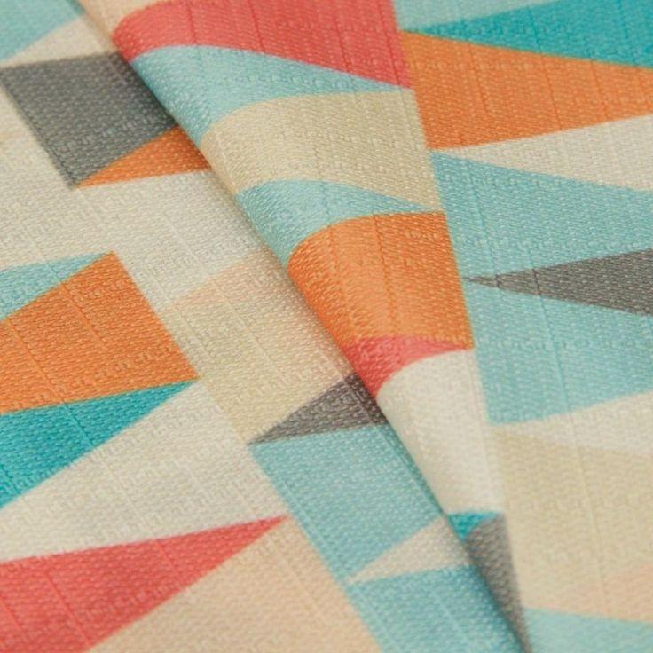 Tecido Jacquard triangulos Vermelho, Laranja, Azul e Creme - Site de tecidos…