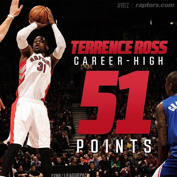 Number 31 goes off for 51. Congrats to Terrence Ross on an absolutely incredible performance. #RTZ #NBA #Toronto