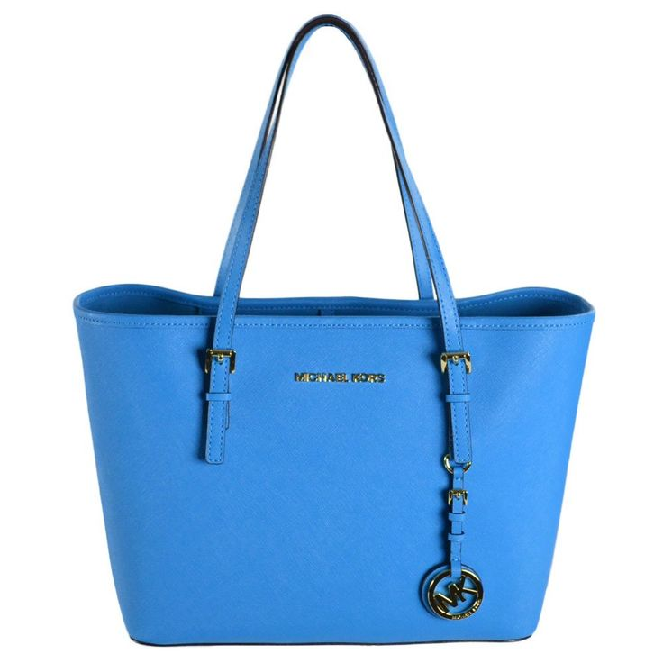 Michael Kors Jet Set Small Saffiano Travel Tote (Summer Blue): Handbags: Amazon