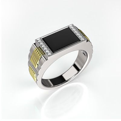 GOLD Art. 3D STORE: Mens ring with black onyx