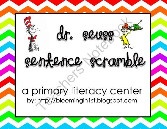Dr. Seuss Sentence Scramble Writing Literacy Center from Blooming in First on TeachersNotebook.com -  (9 pages)  - A high interest writing center devoted to a favorite author! Students cut the scrambled word tiles (which include 8 different Dr. Seuss titles), glue and rewrite them. Scrambled sentences include sight words and vary in difficulty. Not only will students