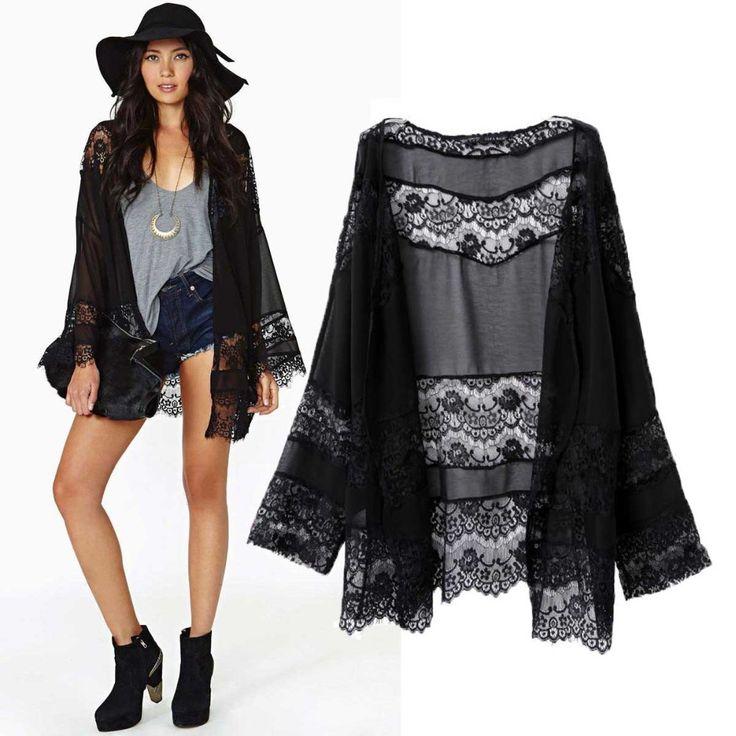 2015 Women Fashion Black Kimono Cardigan Long Sleeve Chiffon Lace Patchwork Blouse Rendas Hollow Out Casual Crochet Jacket Tops