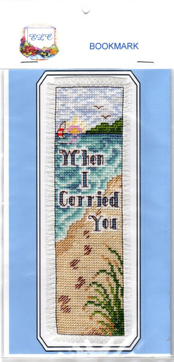 """Footsteps in the Sand Cross Stitch Bookmark (Beautiful) """"When I Carried You"""""""