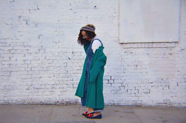 Back of my Closet - #vintagestreetstyle #vintagestyle #fashionblogger #fallfashioin #retrostyle #greencoat #flats #beanie #overalls #streetstyle #naturalhair
