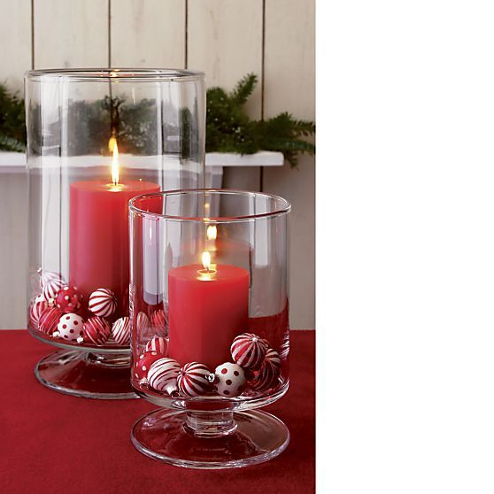 London Large Clear Hurricane in Candleholders | Crate and Barrel. Want these for my dining room
