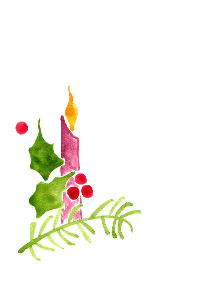 Handpainted Greeting Card Candle holly and by HandmadeExclusives, $3.50