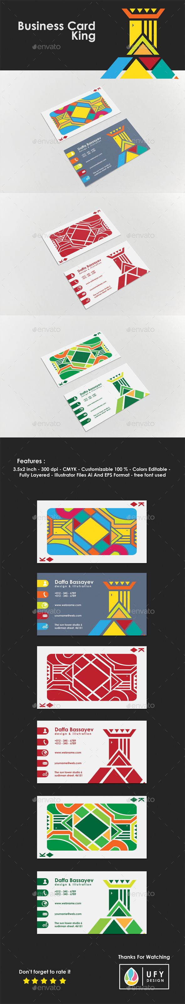 #Business #Card - King - Business Cards Print Templates Download here: https://graphicriver.net/item/business-card-king/19695068?ref=alena994