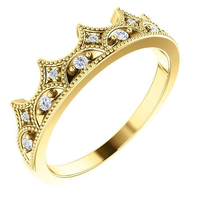 14k Yellow Gold Crown Ring Size 7