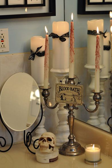 17 best ideas about halloween candles on pinterest for Halloween bathroom ideas